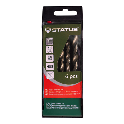 Set 6 burghie HSS -STATUS-metal-DIN338 HSS+TIN 2-8mm