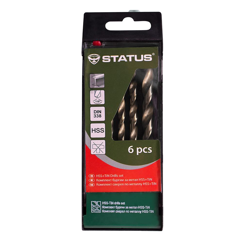 Set 6 burghie HSS -STATUS-metal-DIN338 HSS+TIN 2-8mm